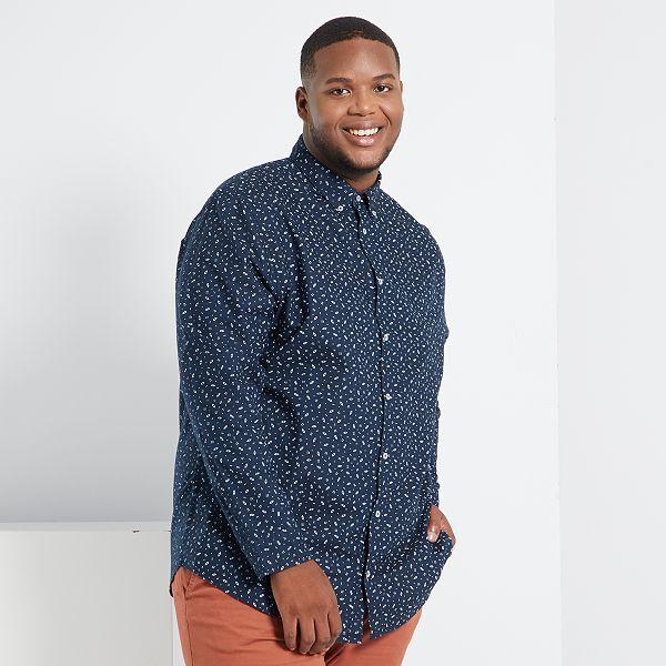 Camisa De Algodon Oxford Estampada Tallas Grandes Hombre Azul Kiabi 20 00