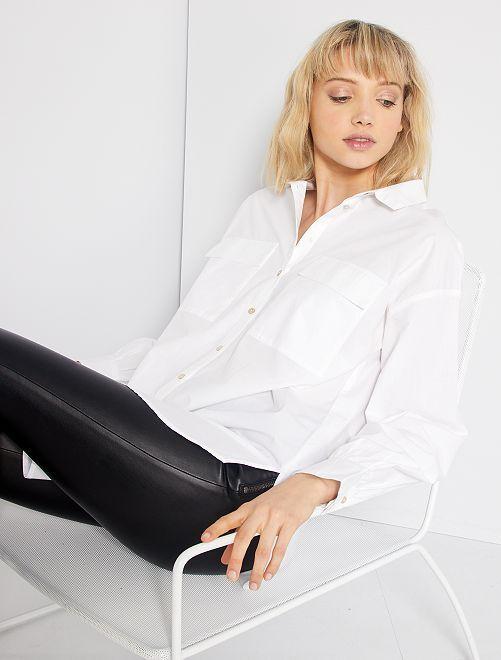 Camisa a rayas de algodón puro                     blanco