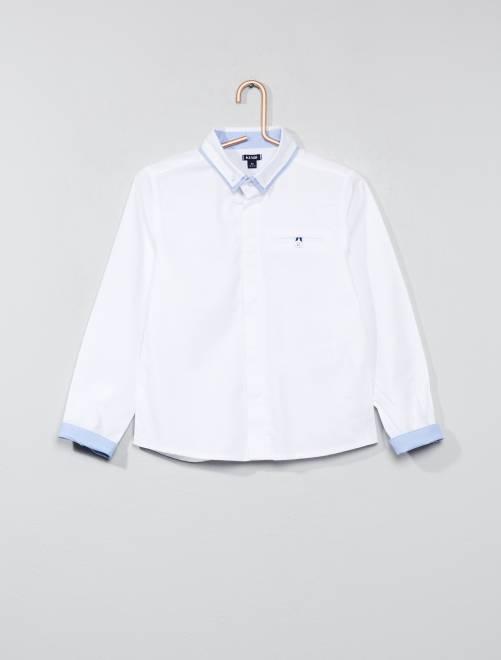 Camisa de algodón puro con textura                             blanco Chico