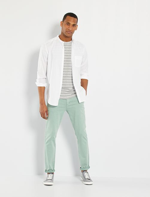 Camisa de algodón puro dobby con textura                             blanco