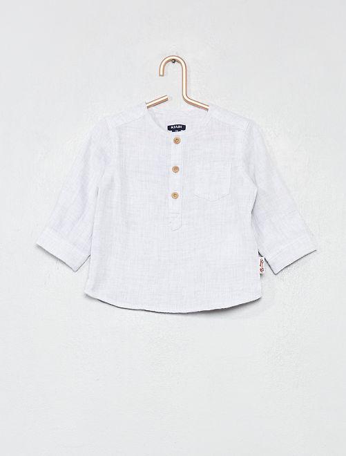 Camisa de algodón puro efecto envolvente                                         GRIS Bebé niño