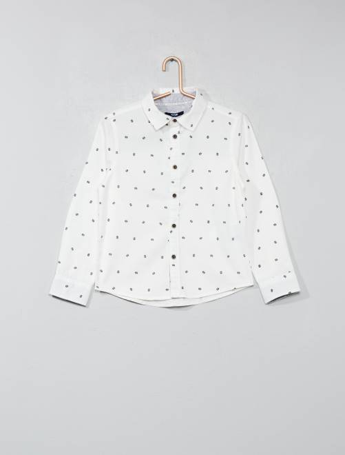Camisa de algodón puro estampada                                         BLANCO Chico