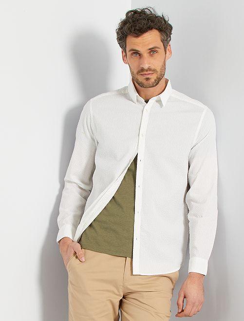 Camisa de algodón seersucker                                                                 BLANCO