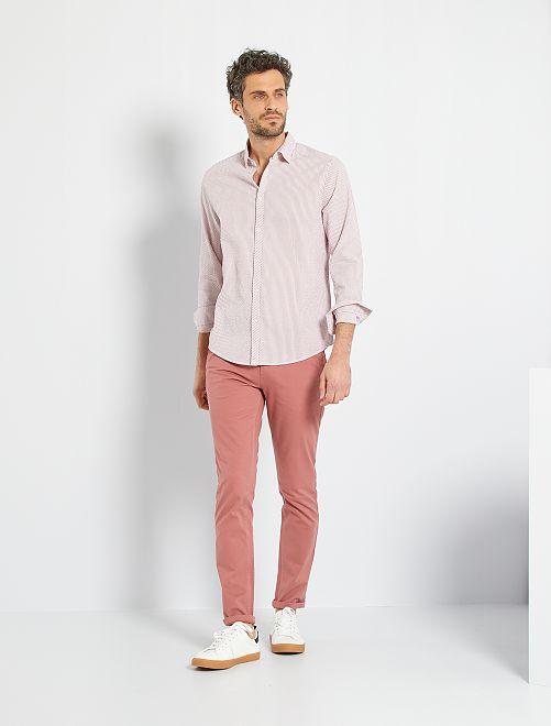 Camisa de algodón seersucker                                                                 NARANJA
