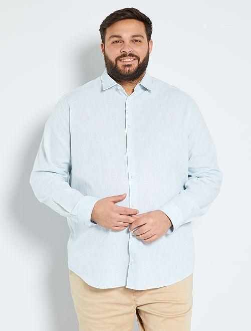 Camisa de algodón y lino                             azul