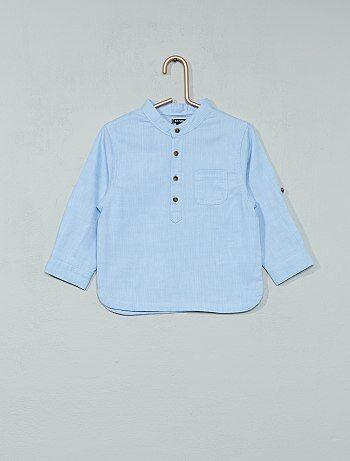 Camisa de chambray con cuello mao - Kiabi