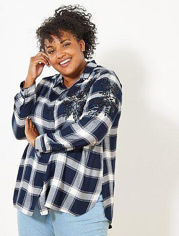 Camisa de cuadros bordada - Kiabi