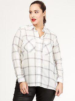 Tallas grandes mujer Camisa de cuadros de algodón