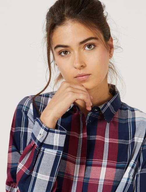 Camisa de cuadros de colores                                         AZUL Mujer talla 34 a 48