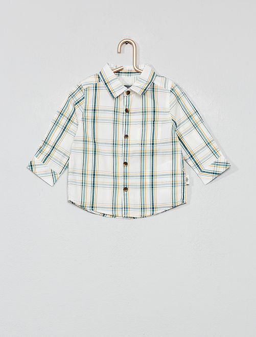 Camisa de cuadros de manga larga                                                     BLANCO Bebé niño