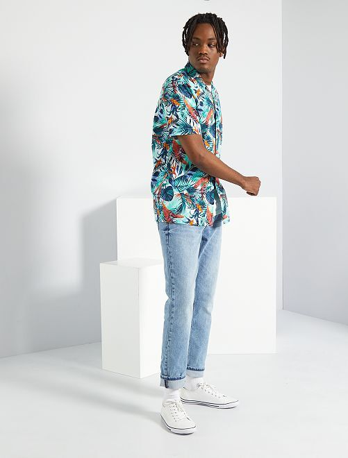 Camisa de flores                                         BLANCO