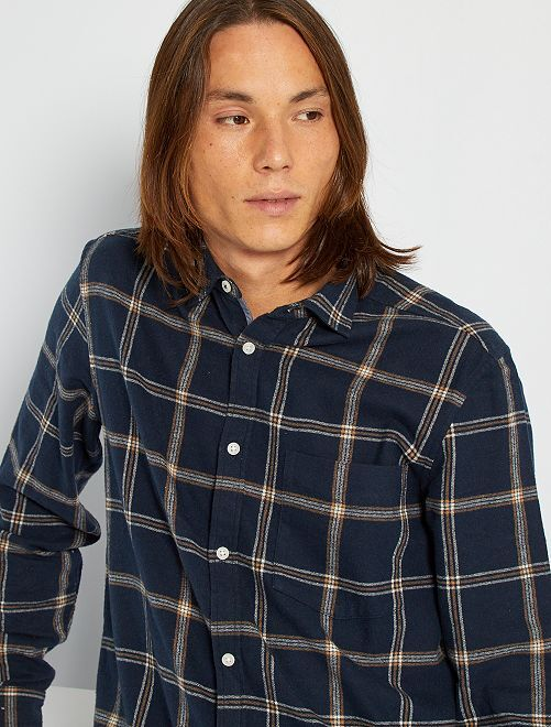 Camisa de franela a cuadros                                         AZUL