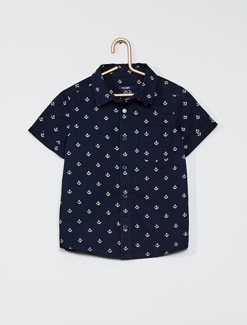 Camisa de franela estampada                                         AZUL