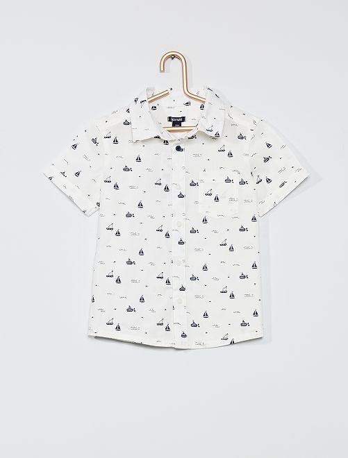 Camisa de franela estampada                                         BLANCO