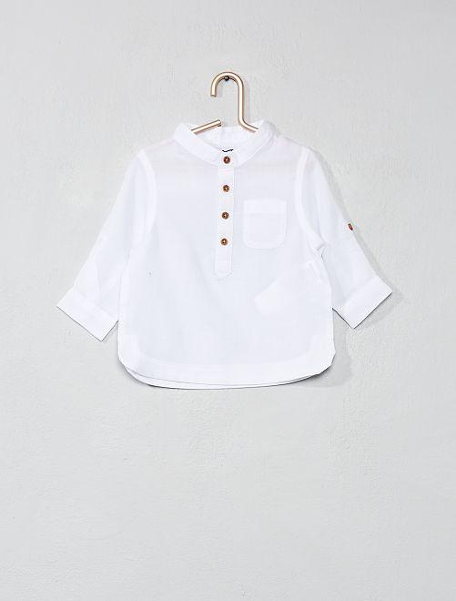 Camisa de gasa de algodón con cuello mao                             blanco Bebé niño