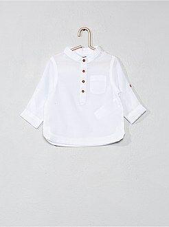 Niño 0-36 meses Camisa de gasa de algodón con cuello mao
