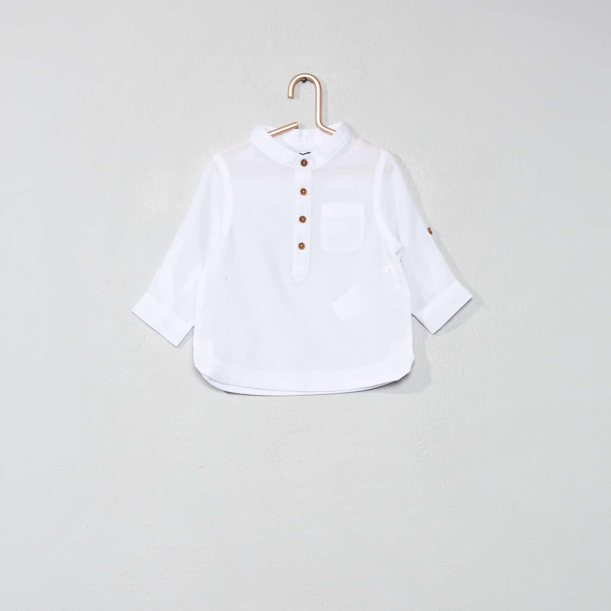 7d549b1910d0 Camisa de gasa de algodón con cuello mao blanco Bebé niño. Loading zoom