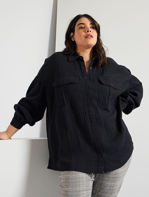 Camisa de gasa de algodón                                                     negro