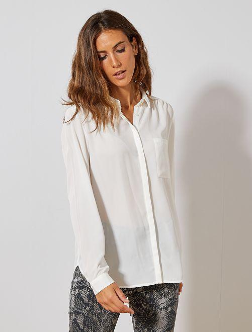 Camisa de gasa de crepé                                                                                                         blanco nieve