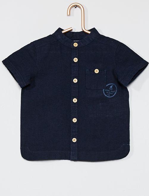 Camisa de lino                             AZUL