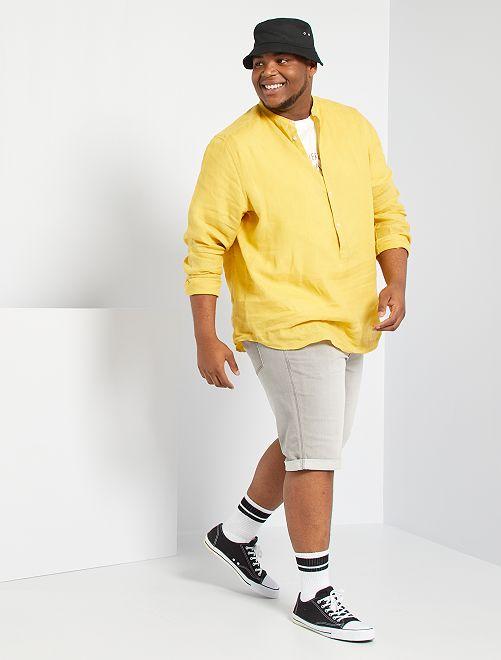 Camisa de lino eco-concepción                             amarillo anaranjado