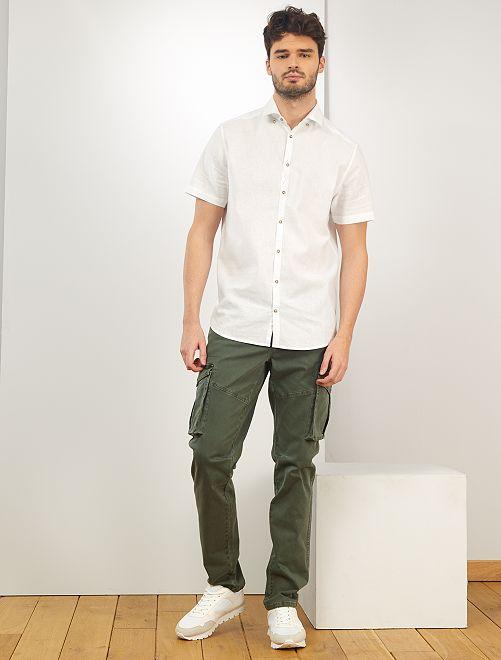 Camisa de lino y algodón +1,90m                             blanco