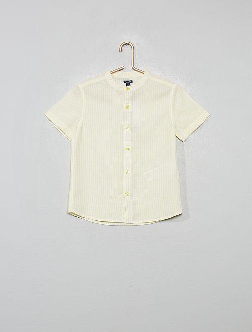 Camisa de lino y algodón a rayas con cuello mao                                                     AMARILLO