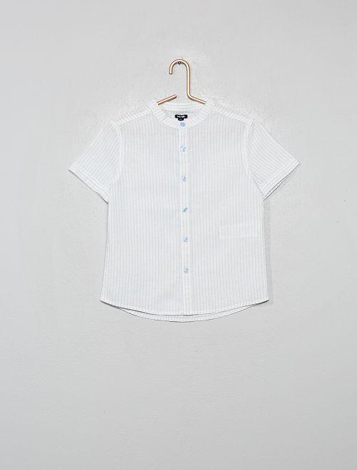Camisa de lino y algodón a rayas con cuello mao                                                                 AZUL
