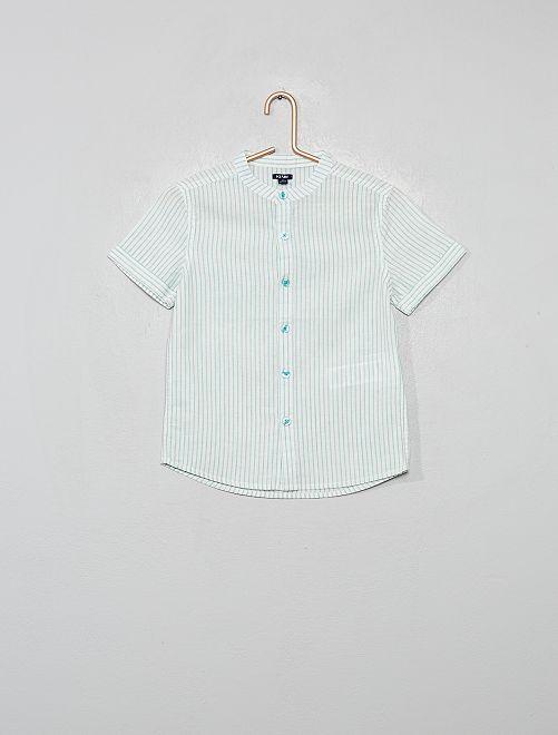 Camisa de lino y algodón a rayas con cuello mao                                                                 VERDE