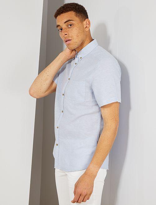Camisa de lino y algodón                                                                 AZUL Hombre