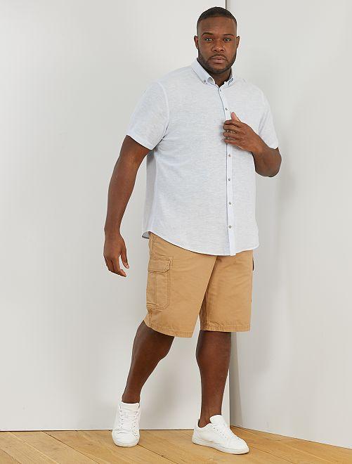 Camisa de lino y algodón                                                                 AZUL