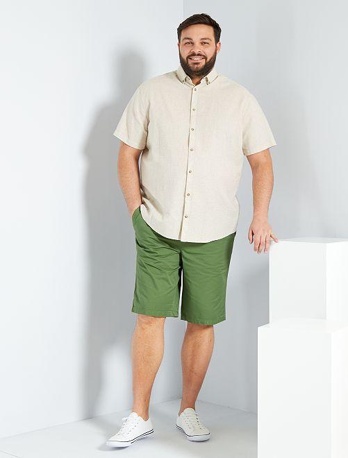 Camisa de lino y algodón                             beige