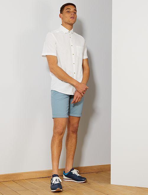 Camisa de lino y algodón                                                                 blanco Hombre