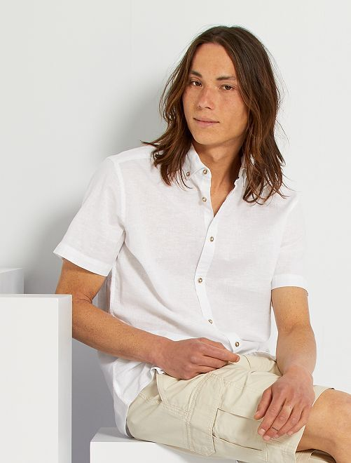 Camisa de lino y algodón                                                                 blanco