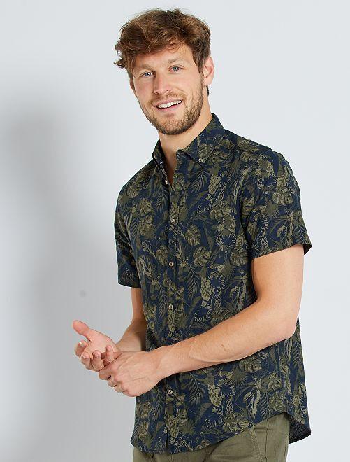 Camisa de lino y algodón                                                     KAKI