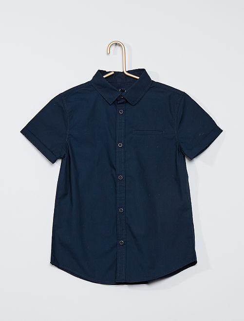 Camisa de manga corta de popelina de algodón                                                     azul