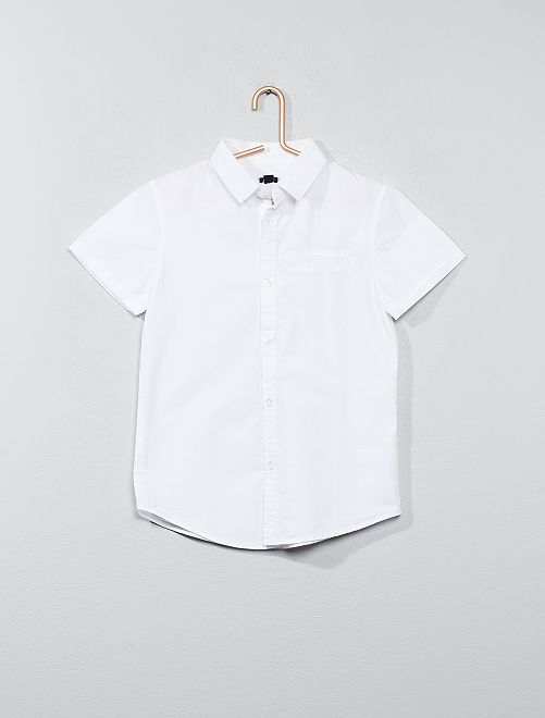 Camisa de manga corta de popelina de algodón                                         blanco