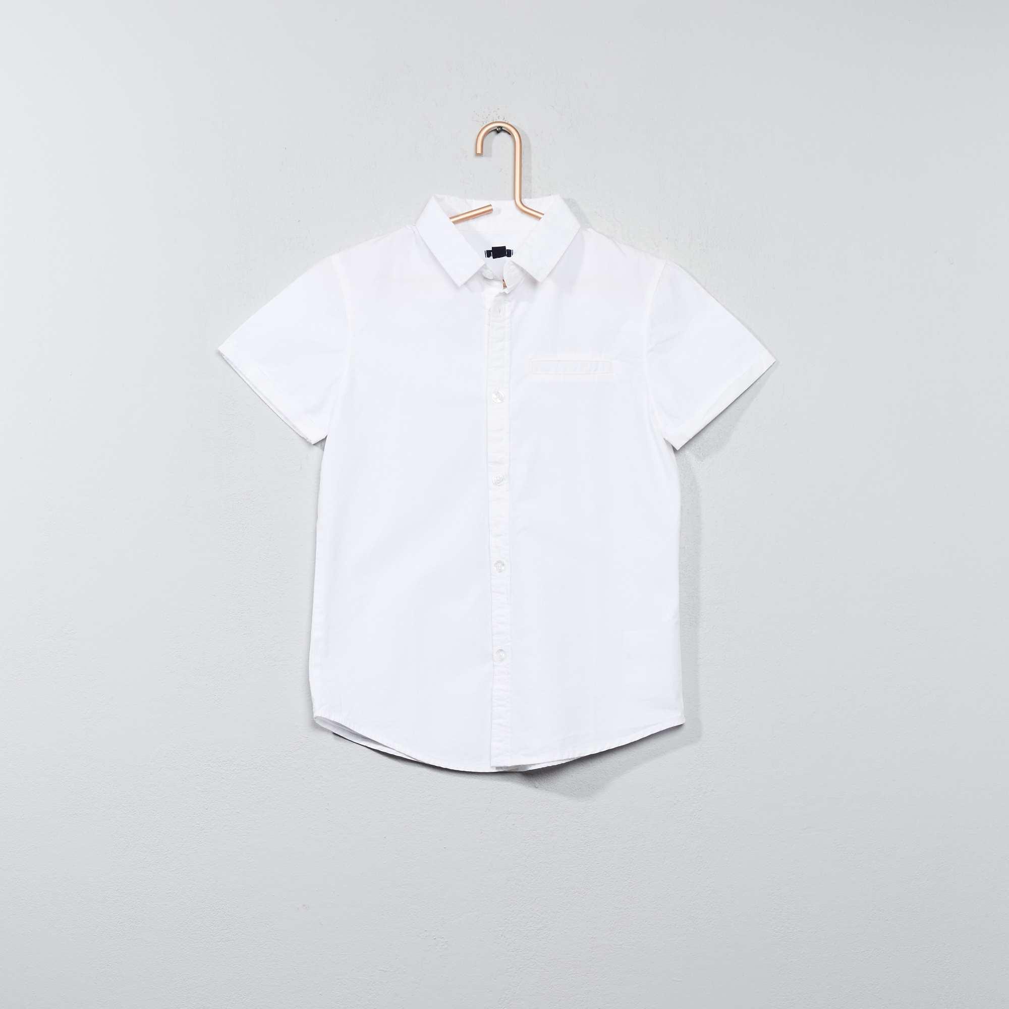 b1702db02b Camisa de manga corta de popelina de algodón Chico - blanco - Kiabi ...