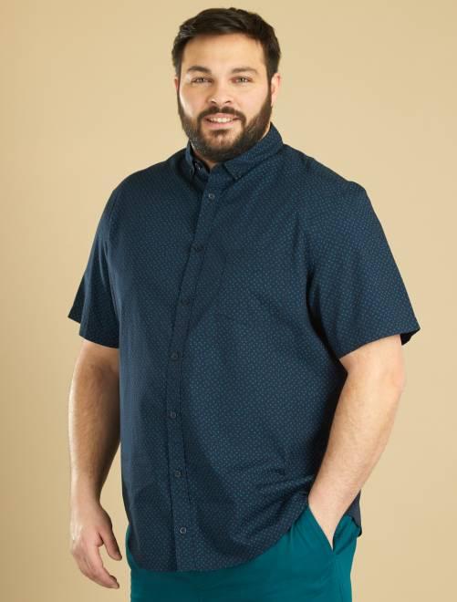 Camisa de manga corta estampada AZUL Tallas grandes hombre