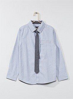 Camisas - Camisa de manga larga + corbata - Kiabi