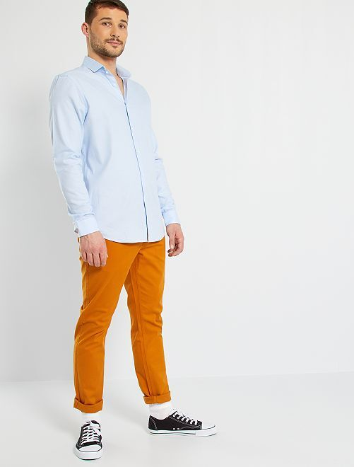 Camisa de piqué de algodón +1,90 m                                                                 AZUL