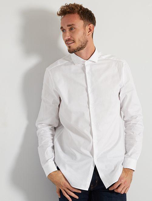 Camisa de piqué de algodón +1,90 m                                                                 blanco