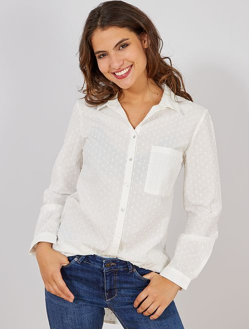 Camisa de popelina con relieve                                         blanco Mujer talla 34 a 48