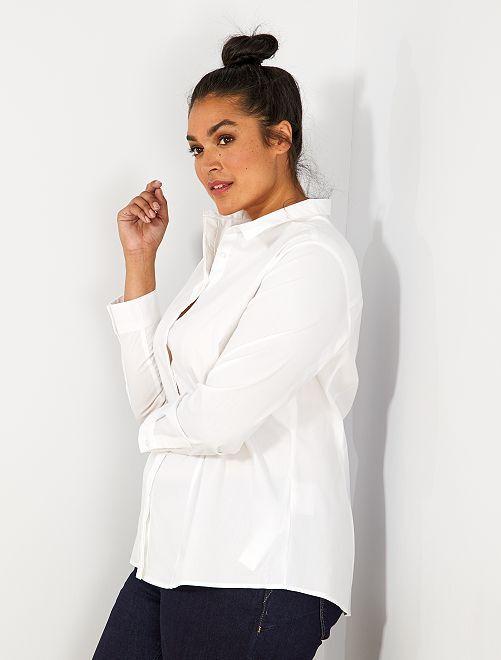 Camisa de popelina elástica                                                     blanc