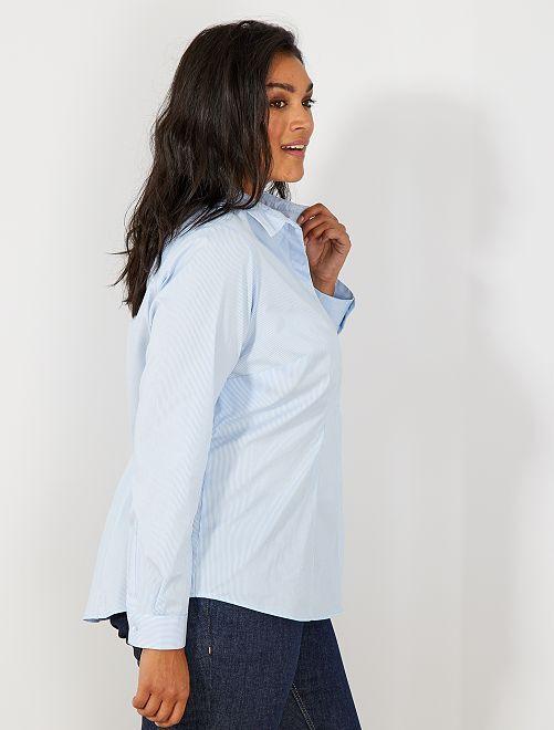 Camisa de popelina elástica                                                     rayé bleu