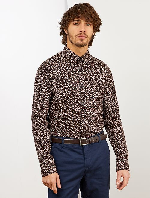 Camisa de popelina estampada                                                                             AZUL