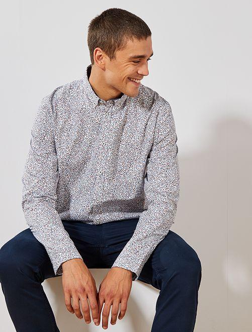 Camisa de popelina estampada                                                                             BLANCO