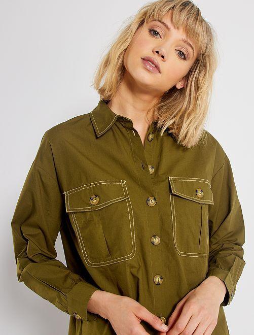 Camisa de popelina                                         KAKI