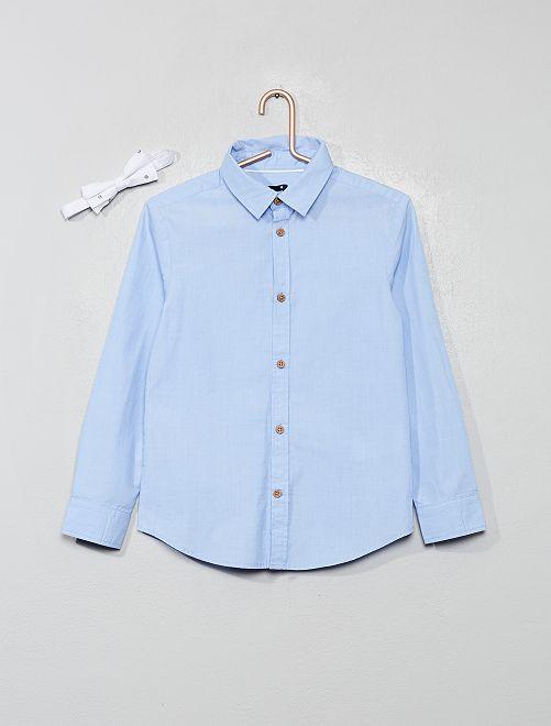 Camisa de popelina + pajarita                             AZUL