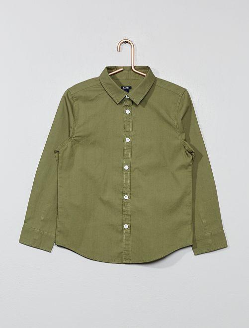 Camisa de popelina                                                     verde liquen